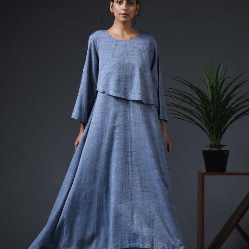 Asymmetrical flap yoke dress Front