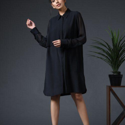 Black shirt dress Front