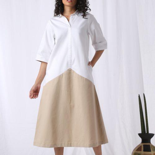Draped Panel Cotton Dress Front