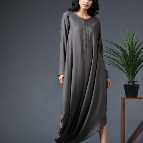 Gathered zipper long dress Front