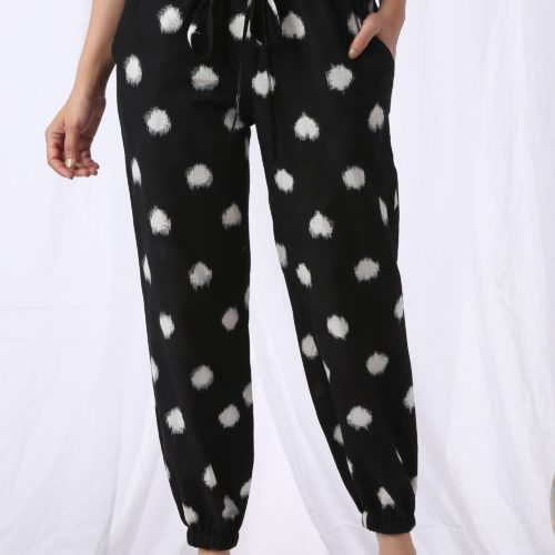 High Waisted Polka Joggers Black Front