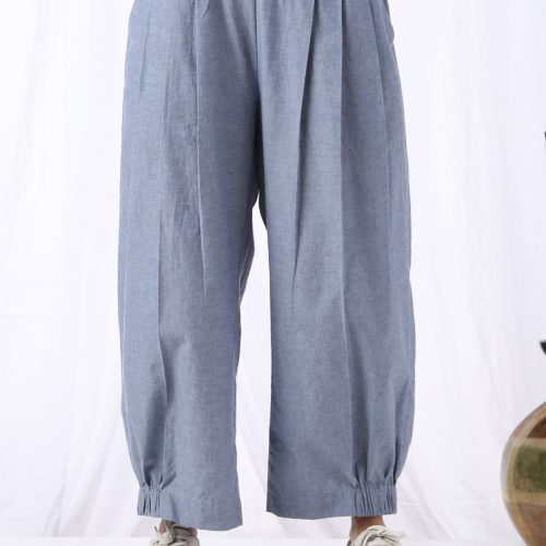 High waist Pleated Pants Front