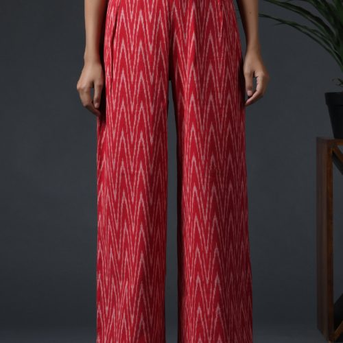 Ikat wide leg pants Red Front