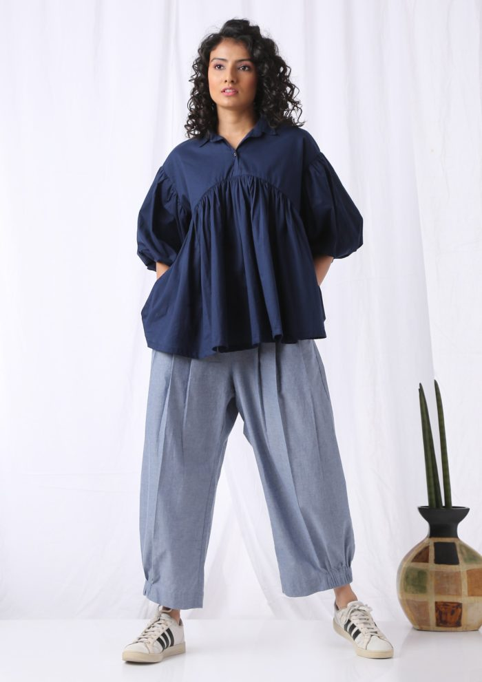 Puff Sleeve Top Navy Blue Front2 scaled