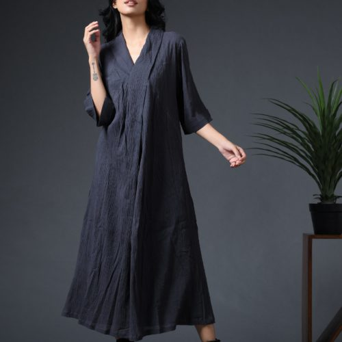 Robe dress charcoal Front