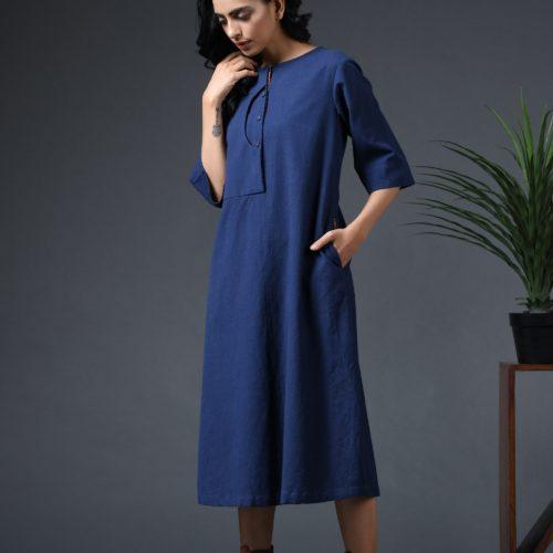 Scoop placket dress Navy Blue Front