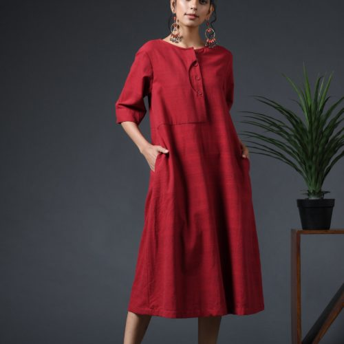 Scoop placket dress Red Front