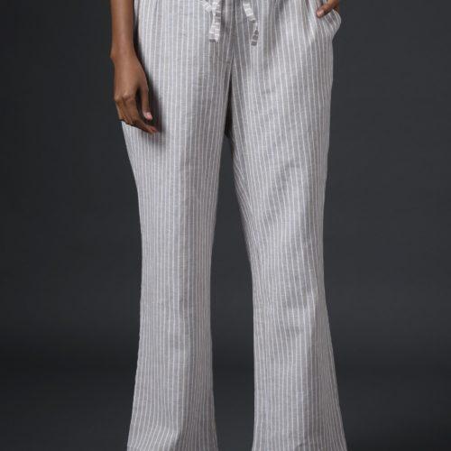 Striped Linen Pants Beige Front