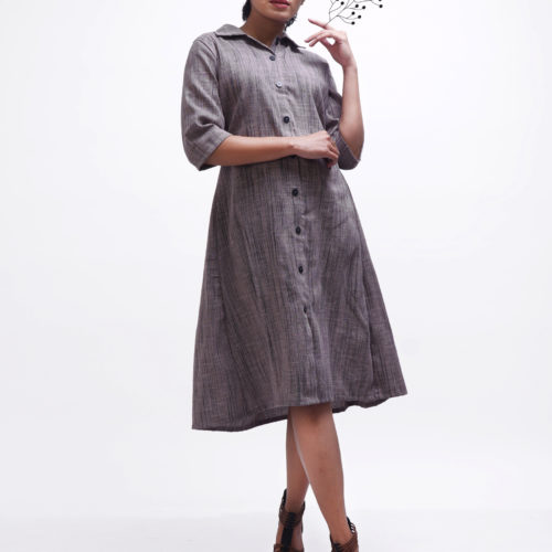 Blackish Purple Shirt Dress 1