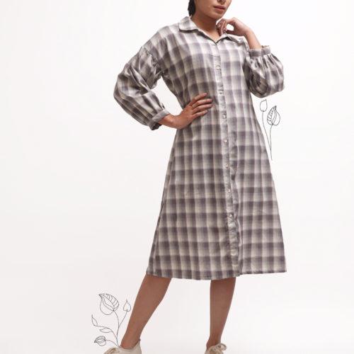 Checkered Shirt Dress 1