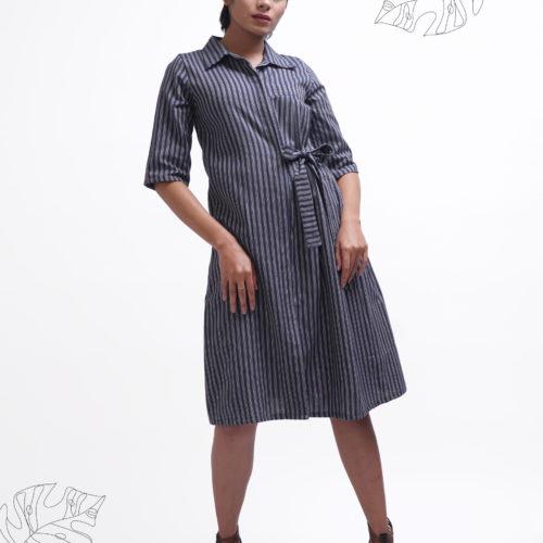 Navy Striped Shirt Dress 1