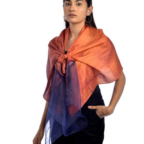 Autumn Silk and Organza Scarf 1