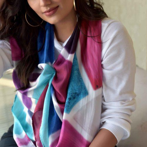 Berrymosaic Long Pure Silk Scarf 1