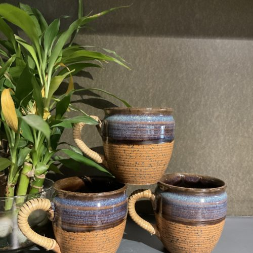 Brown Hay Cup with Cane Handle