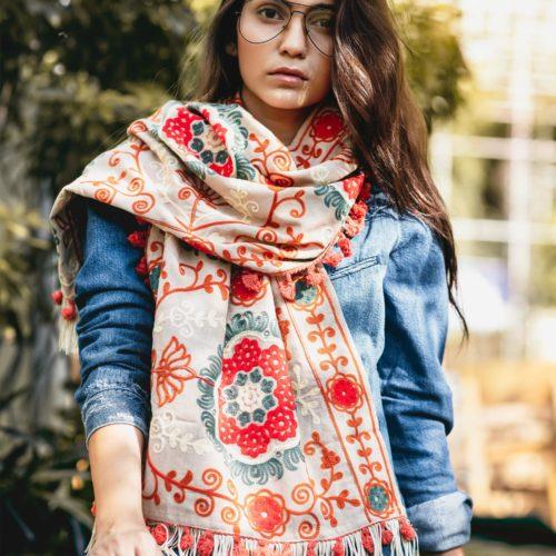 Beige Woollen Embroidered Khadi Muffler With African Motifs 1