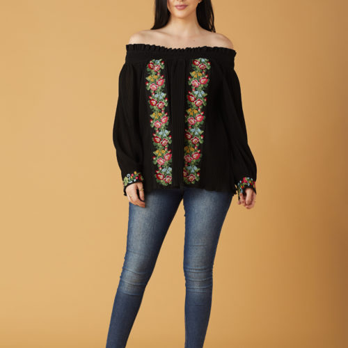 Black Daintly Embroidered and Pleated Off Shoulder Blouse 1