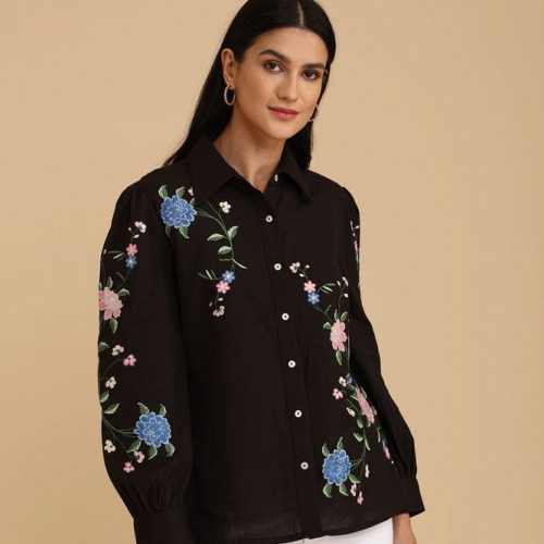 Black Exquisite Embroidered Shirt 1