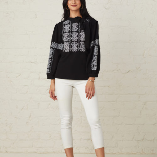 Black Monochrome Intricately Embroidered Cross Stich Top 1