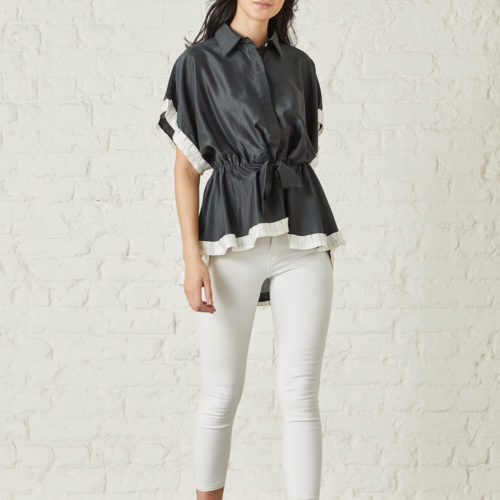 Black Organza Blouse with Batwing Sleeves and Intricate Pleated Ribbon 1