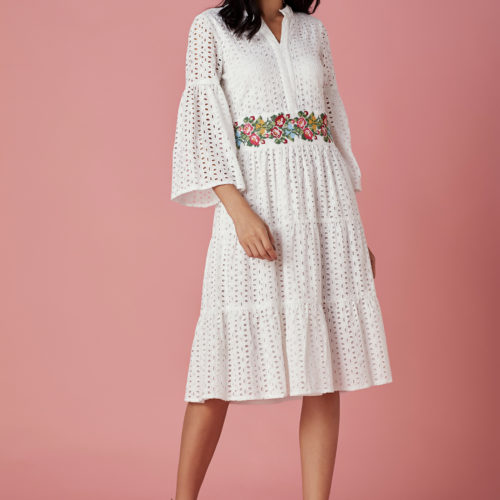 Broderie Tiered Dress with Multi colored Cross Stitch Embroidered Waistline 1