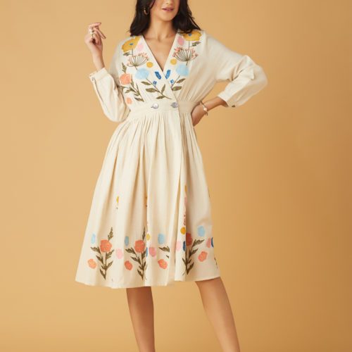 Embroidered Floral Midi Bloom Dress 1