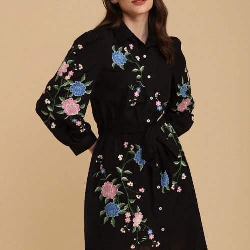 Exquisite Black Embroidered Shirt Dress 1