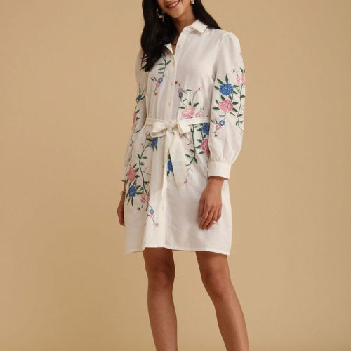 Exquisite White Embroidered Shirt Dress 1