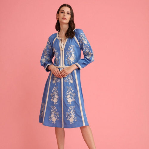 Marina Blue Mughal Inspired Embroidered Midi Dress 1