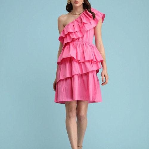 One Shoulder Layered Dress 1
