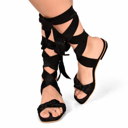 Black Satin Tie Up Flats 1 3148 3