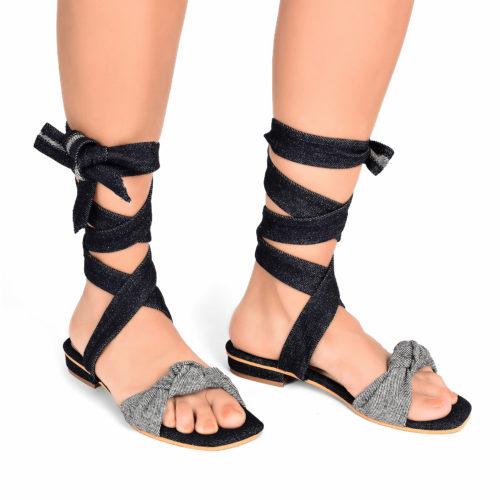 Denim Tie Up Flats 1 3147 3